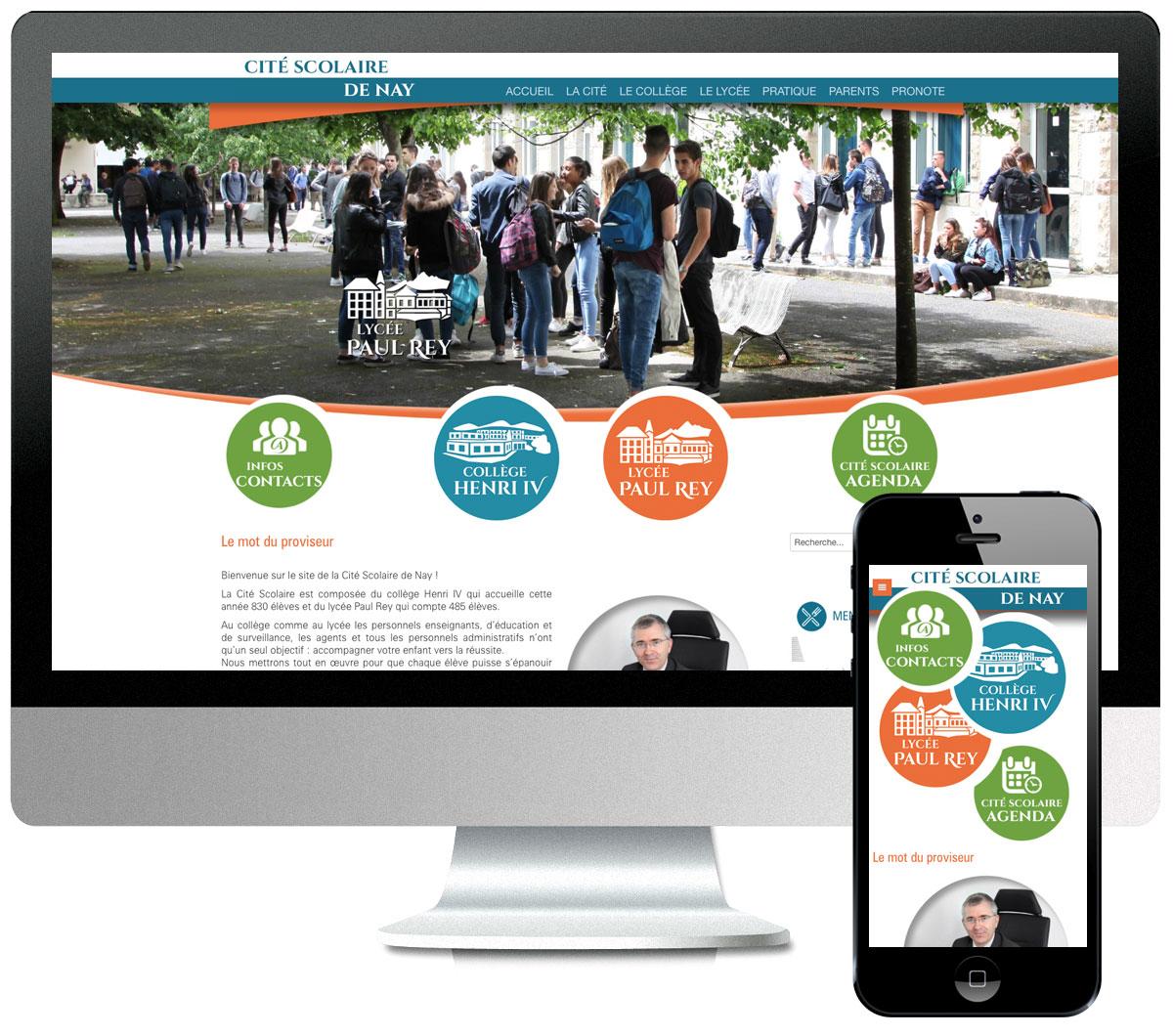 Site internet de la Cité Scolaire de Nay - scom communication